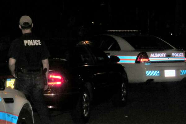 The scene of an officer-involved shooting near 61 Partridge St. in Albany Friday night.