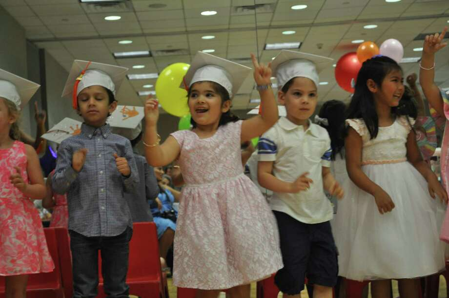 From left, Sienna de Hoogh, Xander McKay, Amelia Zuccarelli, Mikel Cabiedes and Jaina Oliveri are among the 17 kids who took part in the Moving Up ceremony on Thursday as they leave the YWCA's preschool program and head to kindergarten in the fall. Photo: Contributed /