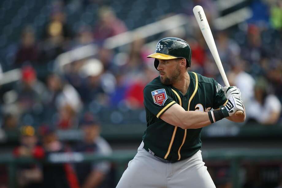 GOODYEAR, AZ - FEBRUARY 27: Nick Martini #72 of the Oakland Athletics bats during the game against the Cleveland Indians at Goodyear Ballpark on February 27, 2018 in Goodyear, Arizona. (Photo by Michael Zagaris/Oakland Athletics/Getty Images)  *** Local Caption *** Nick Martini Photo: Michael Zagaris / Getty Images