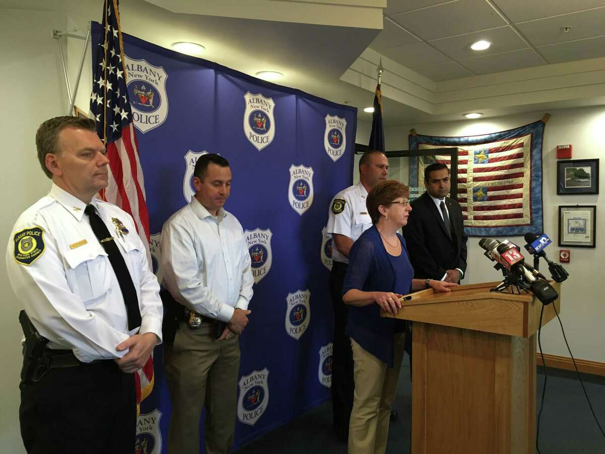 Albany Mayor Kathy Sheehan spoke at a press conference Saturday, June 23, 2018 about an officer-related shooting that occurred Friday, June 22, 2018.