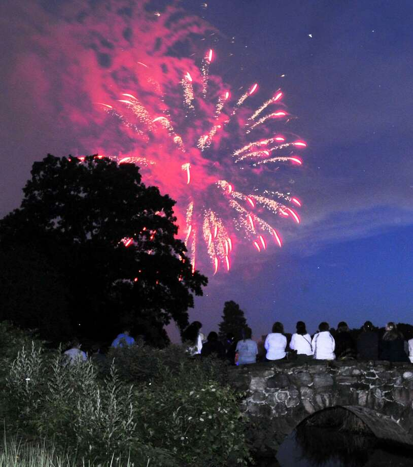 The annual Town of Greenwich fireworks display and Fourth of July celebration at Binney Park in Old Greenwich last year. Photo: File / Bob Luckey Jr. / Hearst Connecticut Media / Greenwich Time