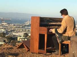 Jason Martineau plays for PianFrancisco on Bernal Heights.