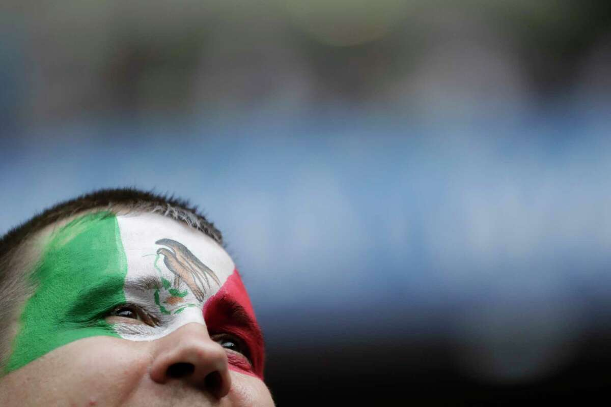 A Mexico fan waits for the start of the group F match between Mexico and South Korea at the 2018 soccer World Cup in the Rostov Arena in Rostov-on-Don, Russia, Saturday, June 23, 2018.