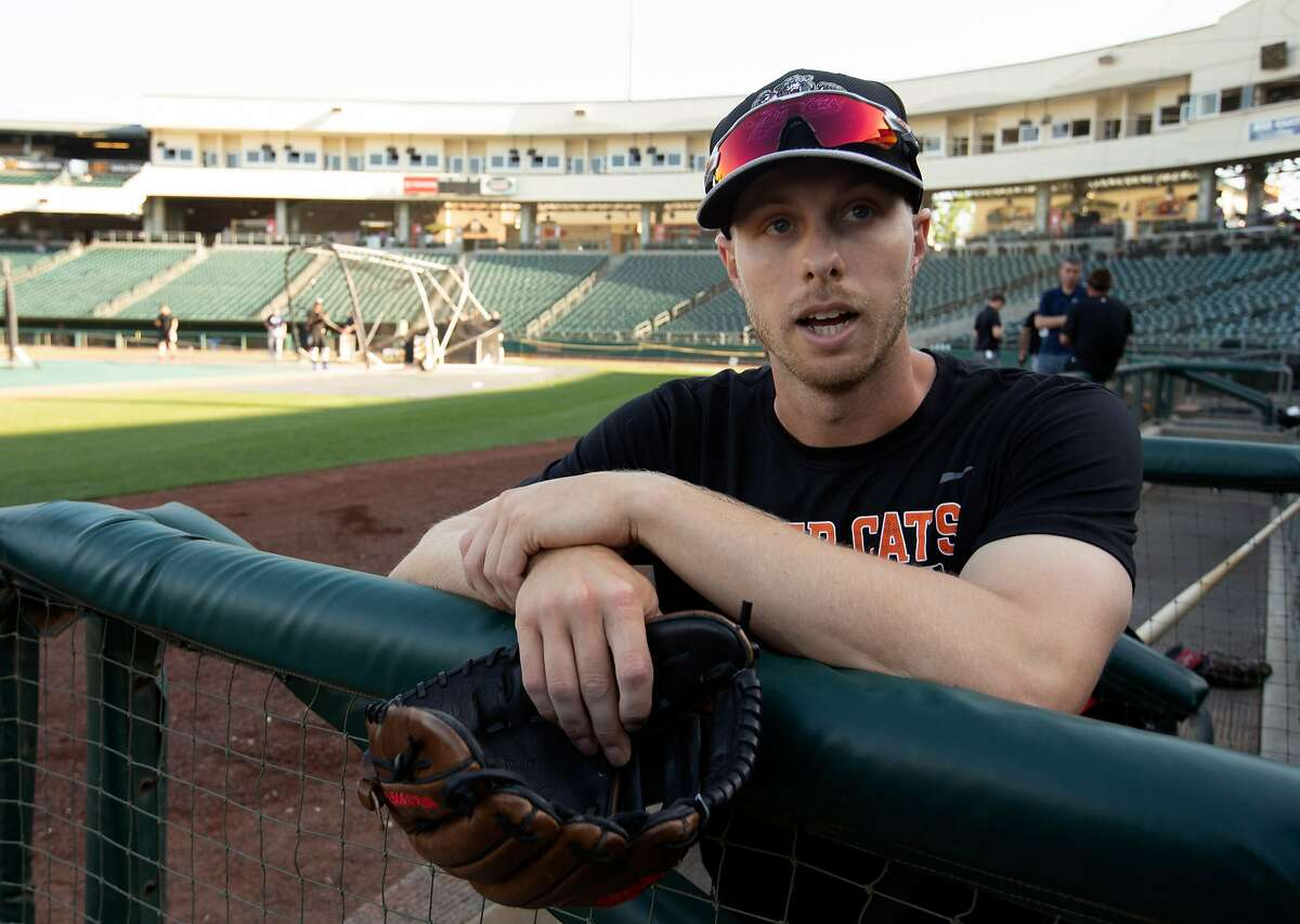 Sacramento River Cats outfielder Austin Slater talks to a reporter before a home game at Raley Field on Thursday, April 26, 2018 in Sacramento, Calif.