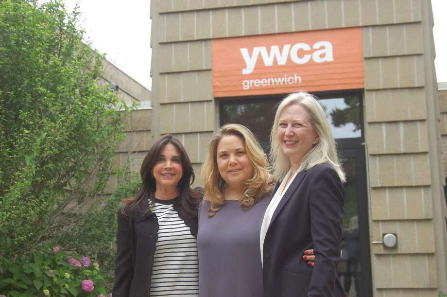 YWCA pro bono volunteer attorney Amy Messing, YWCA director of domestic abuse services Meredith Gold and volunteer attorney Wendy DiChristina outside YWCA headquarters. Photo: Ken Borsuk / Hearst Connecticut Media