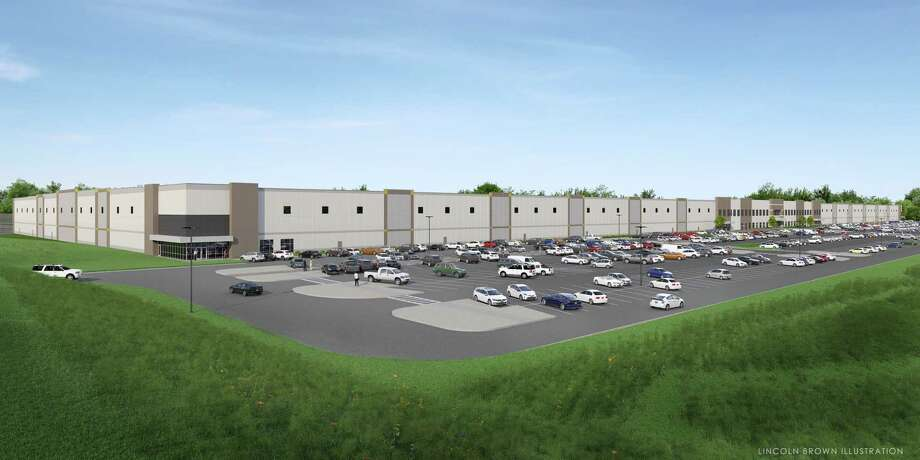 A photo image rendering of what the Amazon fulfillment center planned for Route 9 in Schodack would look like. Photo: Scannell Properties
