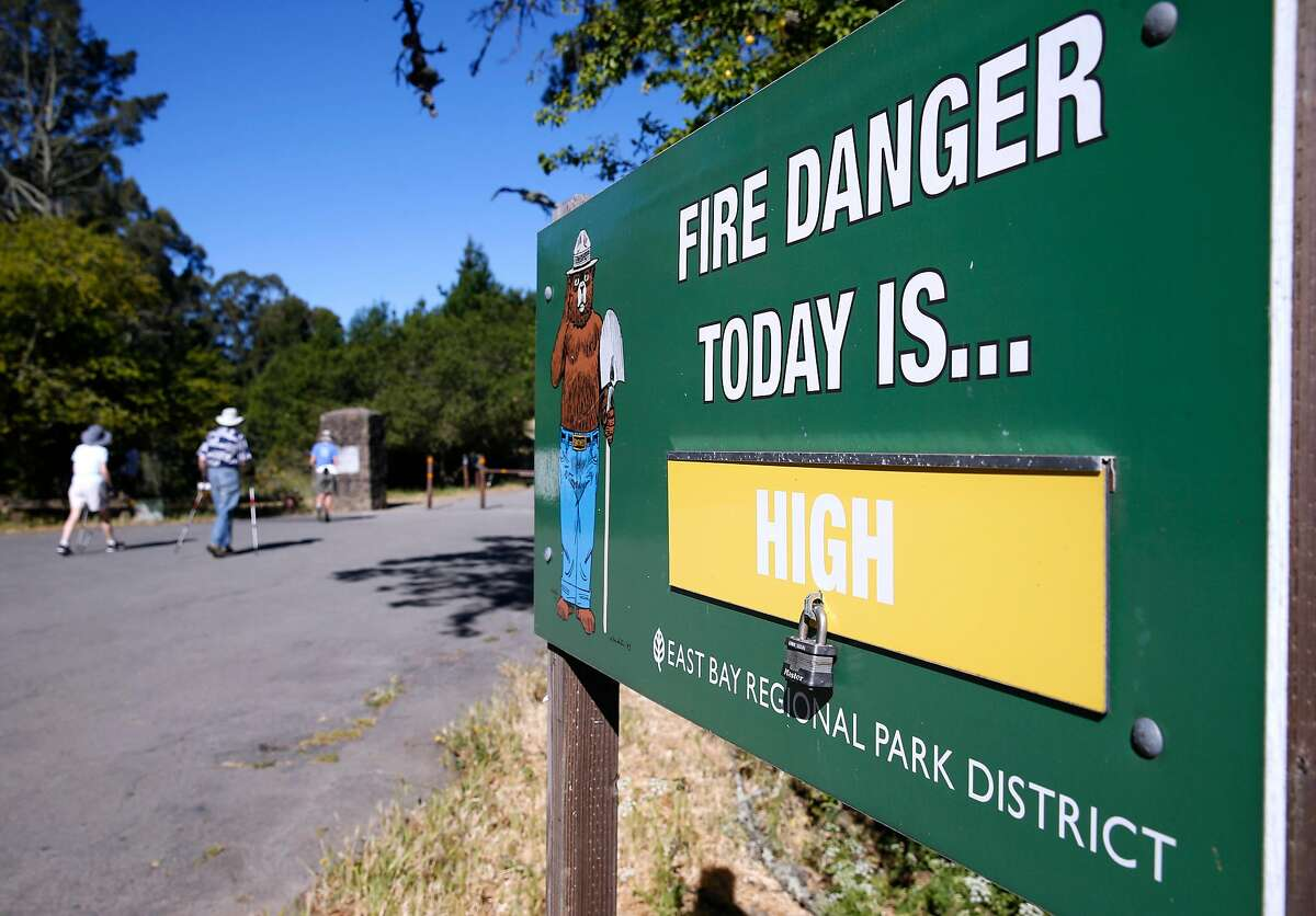 A fire warning is posted at Inspiration Point and the Nimitz Way trailhead in Tilden Regional Park near Orinda, Calif. on Saturday, June 23, 2018. A red flag warning was issued for extreme fire conditions over the weekend.