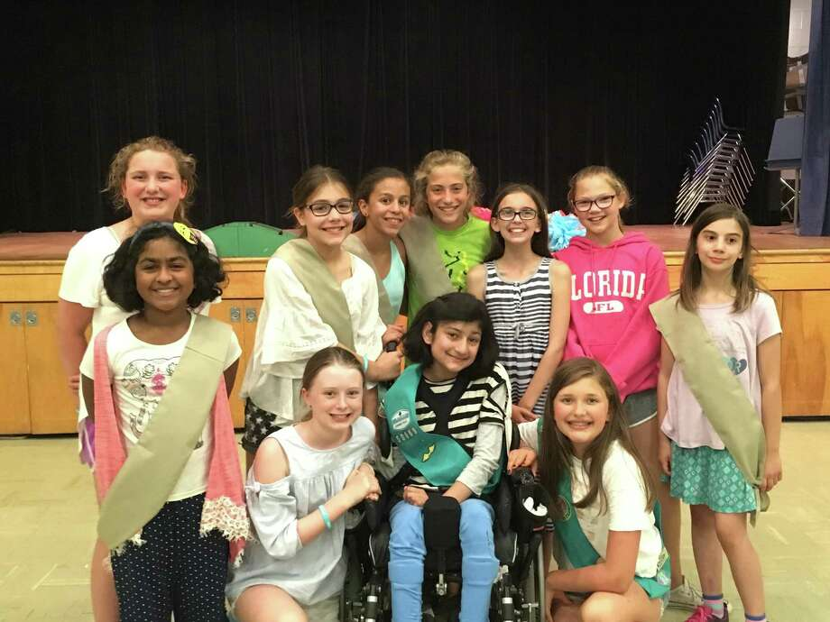Nicole Gardner, Dina Jamshed, Aimee Kennerley, Anna Yavenditti, Ainsley King, Brooke Cesarski, Katharine Lombardo, Mridhula Praveen, Lilly Camera, Eva Brosnan, Natalia Feliciano, Zoe DesMarais, Elayna Wright, Lila Tantary and Jessica Nightingale (not all pictured) are part of Branchville Girl Scout Troop 50669. Photo: Contributed Photo.