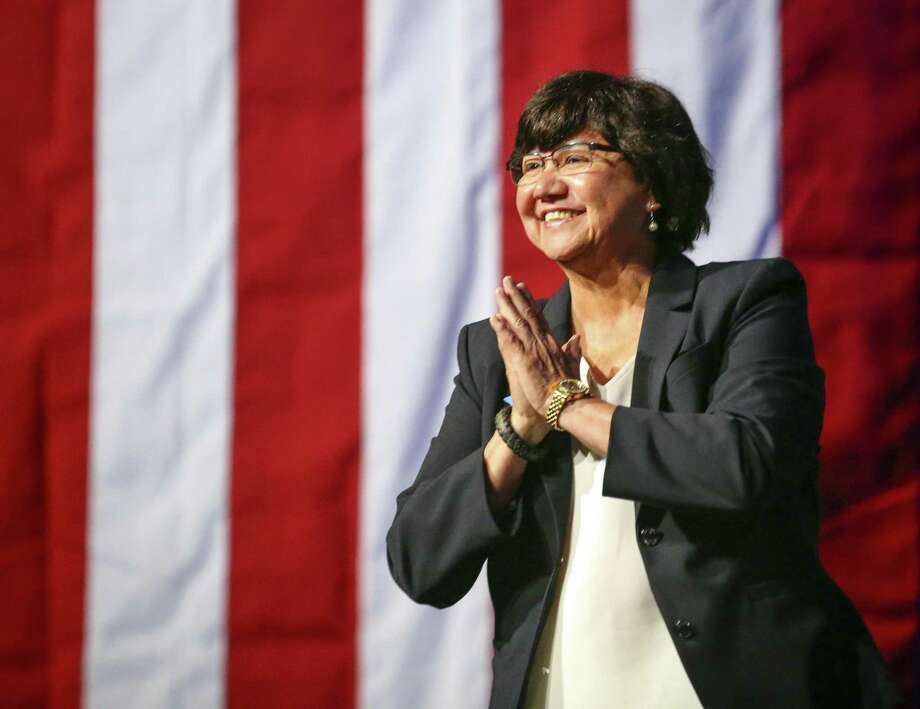 Gubernatorial candidate Lupe Valdez is greeted by the crowd as she takes the stage during the general session at the Texas Democratic Convention Friday, June 22, 2018, in Fort Worth, Texas. (AP Photo/Richard W. Rodriguez) Photo: Richard W. Rodriguez, FRE / Associated Press / FR170526 AP