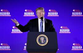 US President Donald Trump addresses the Nevada Republican Party Convention at the Suncoast Hotel & Casino in Las Vegas, Nevada, on June 23, 2018. / AFP PHOTO / Olivier DoulieryOLIVIER DOULIERY/AFP/Getty Images