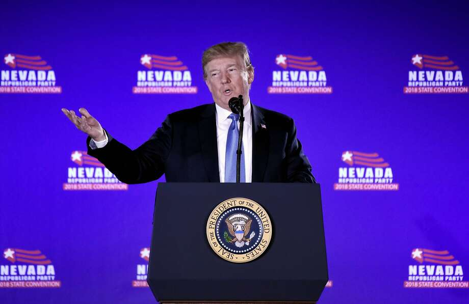 President Trump addresses the Nevada Republican Party Convention at a casino in Las Vegas. Photo: Olivier Douliery / AFP / Getty Images