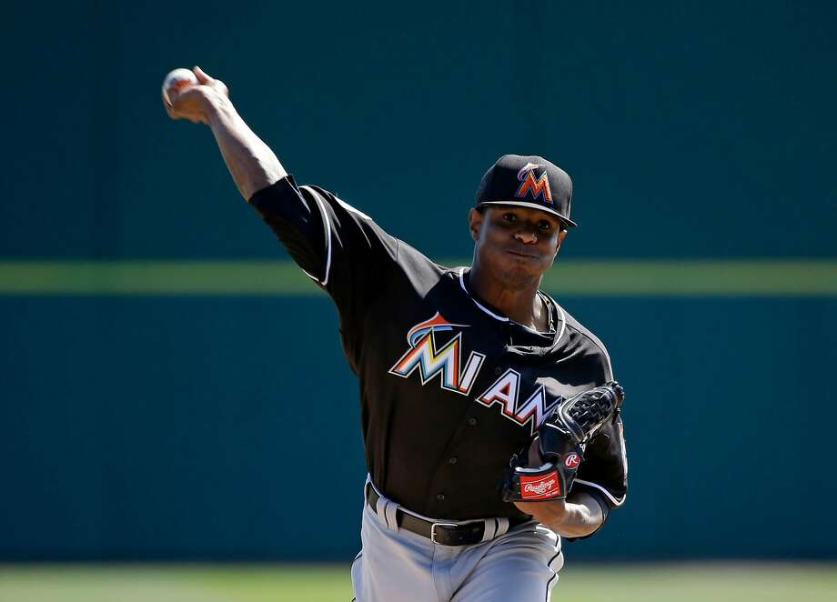 Miami Marlins starting pitcher Edwin Jackson throws in the third inning against the Washington Nationals in a spring training baseball game, Monday, March 7, 2016, in Viera, Fla. (AP Photo/John Raoux) Photo: John Raoux / AP