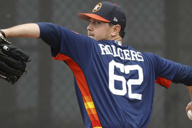 Houston Astros relief pitcher Brady Rodgers (62) pitches during spring training at The Ballpark of the Palm Beaches, in West Palm Beach, Florida, Thursday, February 16, 2017. ( Karen Warren / Houston Chronicle )