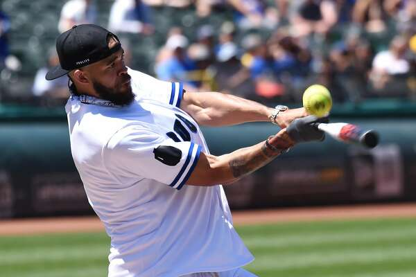 JaVale McGee at bat during the 4th annual Juglife Foundation Water For Life Charity Softball Game held at Oakland-Alameda County Coliseum Saturday June 23, 2018.