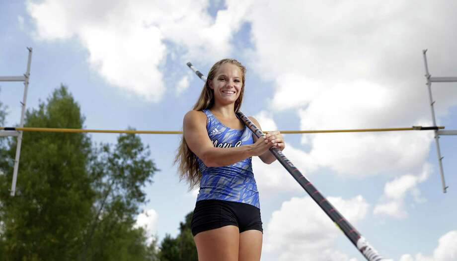 New Caney pole vaulter Nastassja Campbell returned from a torn ACL suffered at the state meet last year to win the Class 5A title in record fashion this season. Photo: Michael Wyke, Freelance / For The Chronicle / © 2018 Houston Chronicle