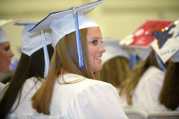 Graduate Julianne Cooney celebrates the 60th annual Wilton High School Commencement Exercises for the Class of 2018 Saturday, June 23, 2018 at 5:00 p.m. at the school in Wilton, Conn.