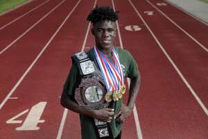 It's unlikely even all the extra baggage from his state medal haul could slow down The Woodlands' speedy senior Kesean Carter.