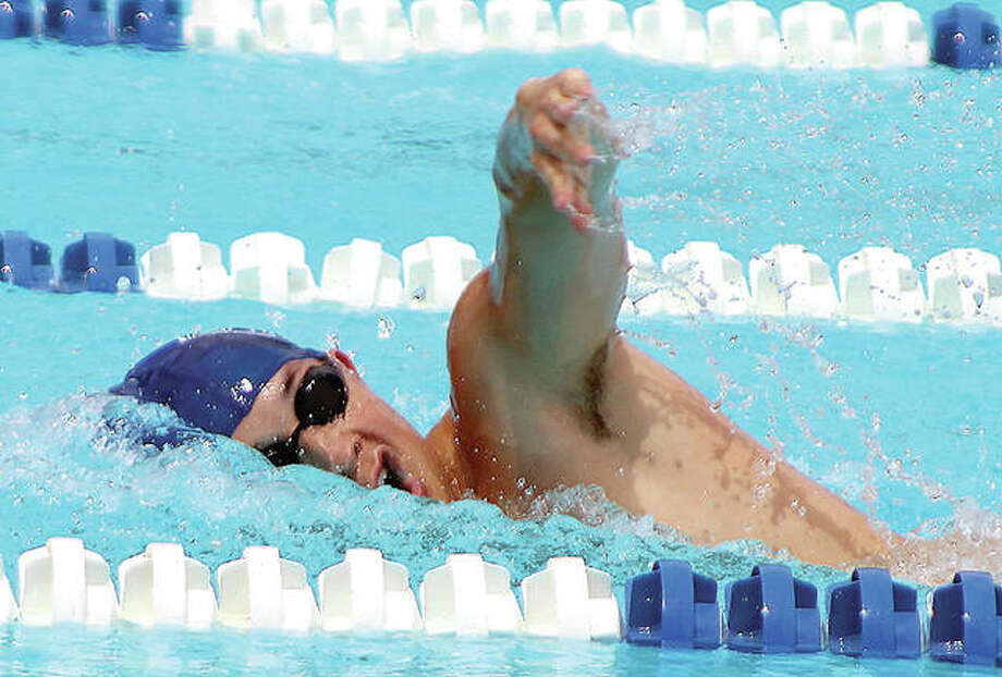 Edwardsvile Breakers swimmer Noah May competes in the 100 meter freestyle prelims during Saturday's action at the 80th annual Clayton Shaw Park Tideriders Summer Invitational. Photo:     Pete Hayes | The Telegraph