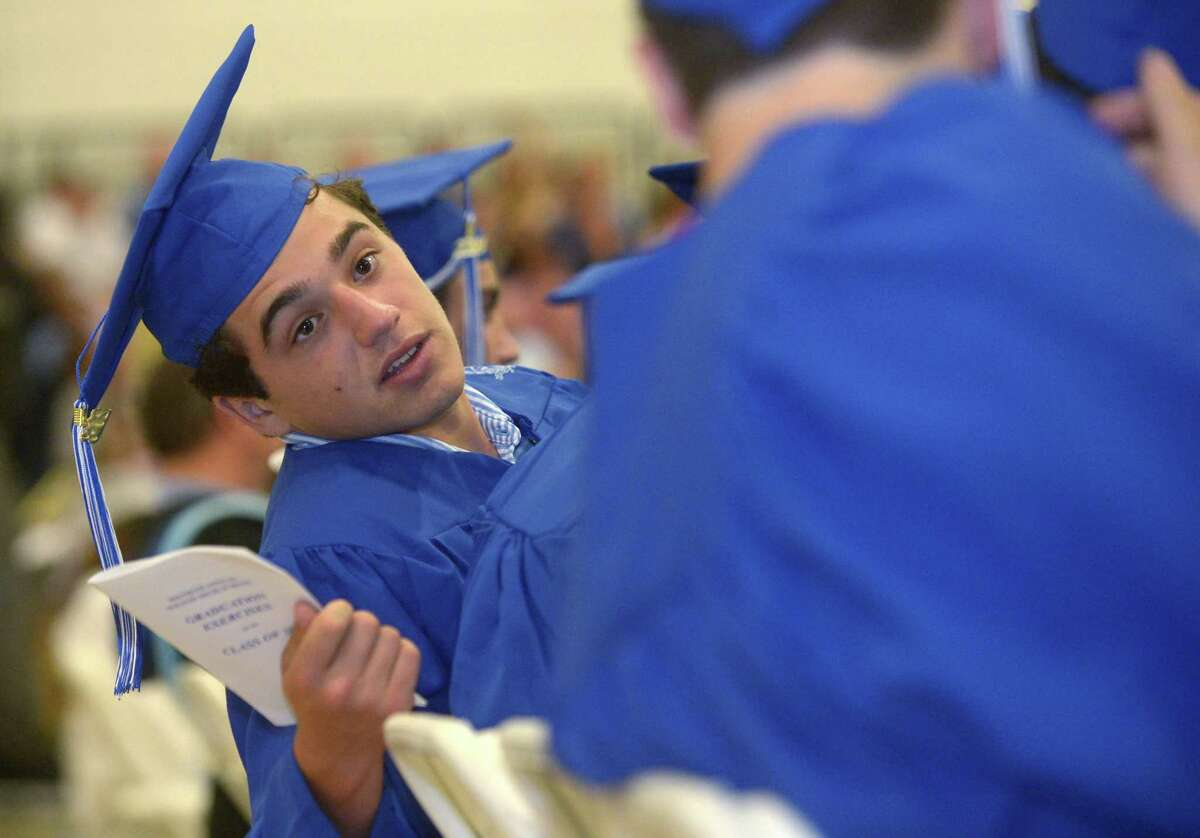 Graduates celebrate during the 60th annual Wilton High School Commencement Exercises for the Class of 2018 Saturday, June 23, 2018 at 5:00 p.m. at the school in Wilton, Conn.
