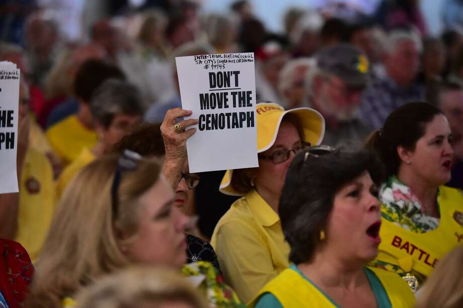 Members of the Battle of Flowers Parade organization express their views about moving the Cenotaph. A reader concurs and explains who would be shut out by the proposed changes. Photo: Robin Jerstad /San Antonio Express News / ROBERT JERSTAD