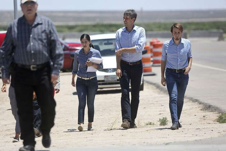 """U.S. Rep. Beto O'Rourke arrives for a tour of the """"tent city,"""" built to house immigrant children separated from their parents after crossing illegally into the U.S. or seeking asylum, at the Marcelino Serna Port of Entry in Tornillo on June 23, 2018."""