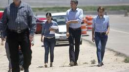 "U.S. Rep. Beto O'Rourke arrives for a tour of the ""tent city,"" built to house immigrant children separated from their parents after crossing illegally into the U.S. or seeking asylum, at the Marcelino Serna Port of Entry in Tornillo on June 23, 2018."
