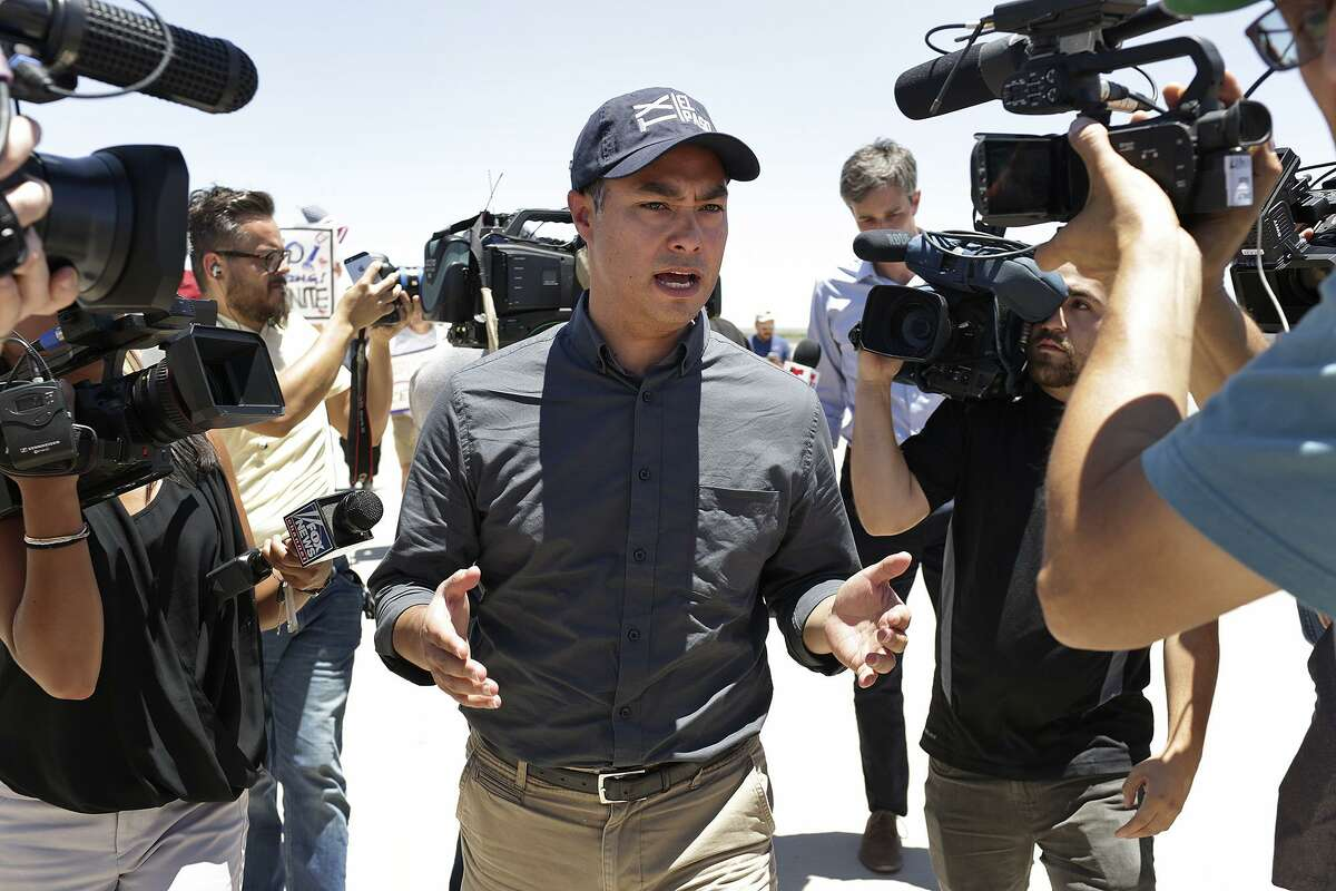 U.S. Rep. Joaquin Castro answers questions from the media before a tour in June of the tent city outside Tornillo in West Texas, built to house immigrant children separated from their parents after crossing illegally into the U.S. or seeking asylum. The facility was expected to close shortly after this visit, but it has remained open and has grown from about 330 kids then to about 1,500 now. Castro visited again Monday.