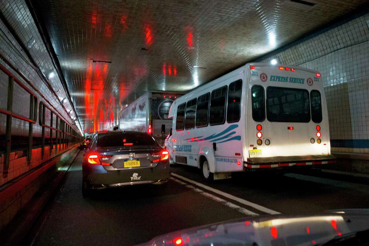 Traffic moves through the Lincoln Tunnel enroute to New York City, Thursday, June 21, 2018. An estimated two-and-a-half-year rehabilitation project on a highway leading to the tunnel will create