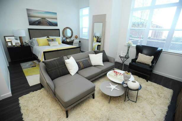 The living area (and bedroom) inside a studio apartment in Harbor Landing, the newest BLT apartment development, on Southfield Ave. in Stamford, Conn. on Wednesday, June 20, 2018.