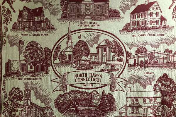 A tapestry on the wall in the North Haven Town Hall.