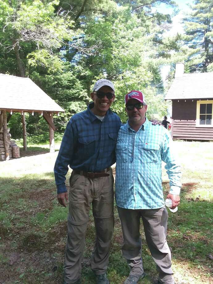 Former President Barack Obama spent two days fly fishing in the Adirondacks with Vince Wilcox of Wiley's Flies of Ray Brook as his guide. Photo: Vince Wilcox/Wiley's Flies