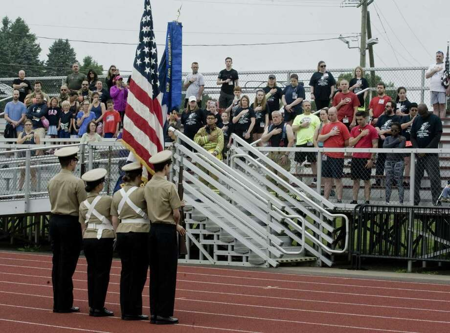 Race participants gather at Bethel High School for the opening ceremony of the inaugural 5K race honoring firefighters killed in 9/11. Sunday, June 24, 2018 Photo: Scott Mullin / For Hearst Connecticut Media / The News-Times Freelance