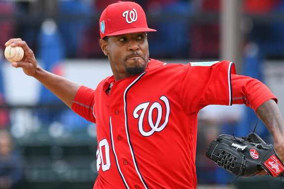 LAKELAND, FL - MARCH 12:  Edwin Jackson #40 of the Washington Nationals pitches during the Spring Training game against the Detroit Tigers at Publix Field at Joker Marchant Stadium on March 12, 2018 in Lakeland, Florida. The Nationals defeated the Tigers 5-4.  (Photo by Mark Cunningham/MLB Photos via Getty Images)
