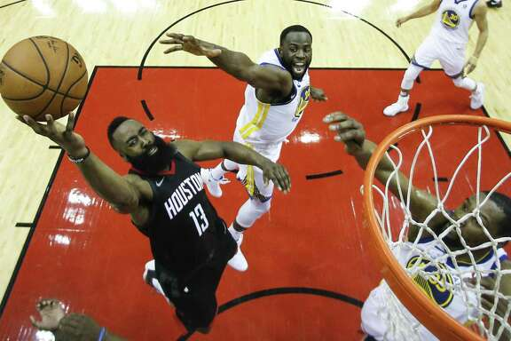 James Harden, driving against the Warriors in Game 7 of the Western Conference finals, was a cut above the rest in the regular season and is favored for the MVP award.