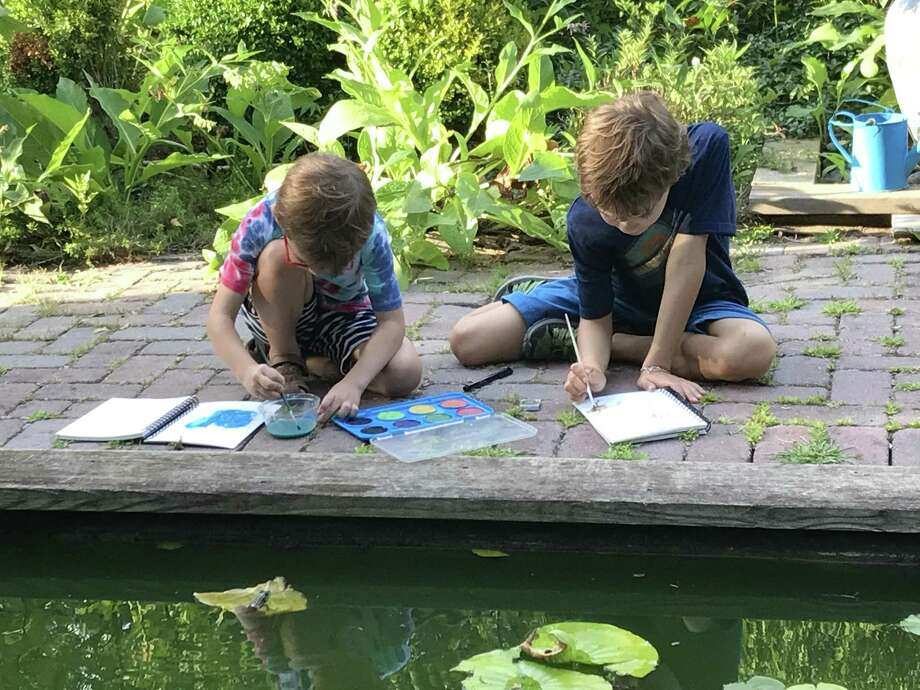Homeschoolers paint during a nature study at the Garden of Ideas in Ridgefield. Photo: By Jessica Lerner / Photo Courtesy Of Christa Ferrick Fitts
