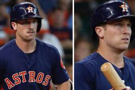 Images show Astros third baseman Alex Bregman with a mustache during his at-bat in the second inning and without one during his at-bat in the fourth inning.