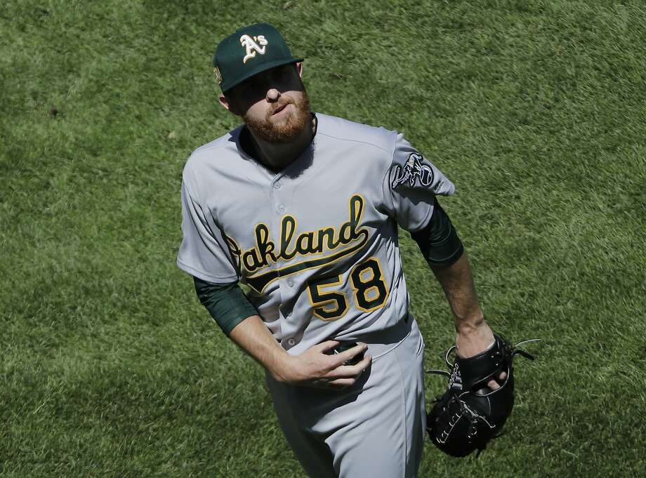 Oakland Athletics starting pitcher Paul Blackburn reacts after the fifth inning of a baseball game against the Chicago White Sox, Sunday, June 24, 2018, in Chicago. (AP Photo/Nam Y. Huh) Photo: Nam Y. Huh / Associated Press