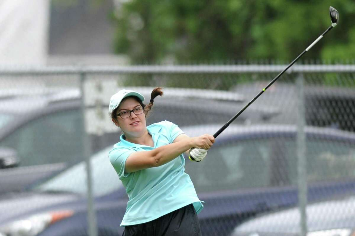 Sydney Bardsley tees off on the 10th hole during the 2018 Stamford Amateur Championship at E. Gaynor Brennan Golf Course in Stamford, Conn. on Sunday, June 24, 2018. Bardsley won the women's championship division.