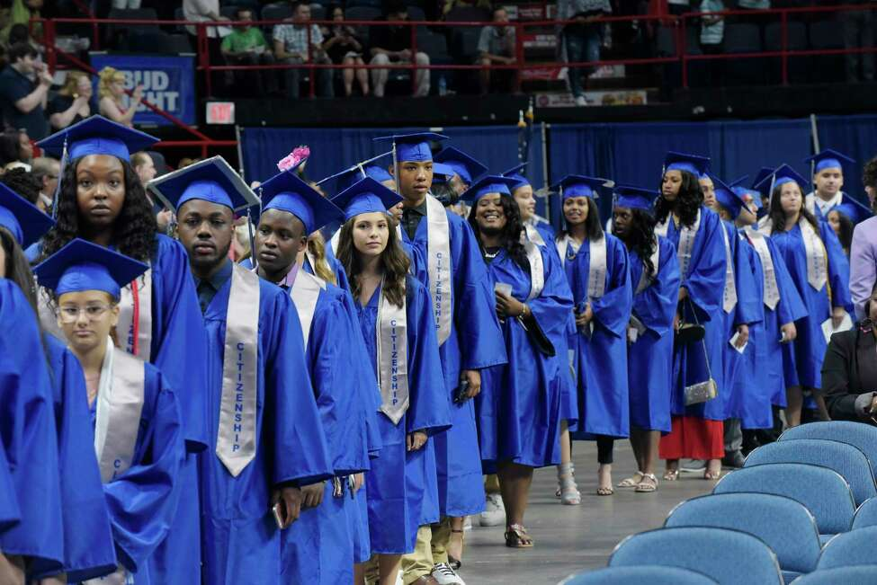 Albany High School graduates walk in at the start of their graduation at the Times Union Center on Sunday, June 24, 2018, in Albany, N.Y. (Paul Buckowski/Times Union)