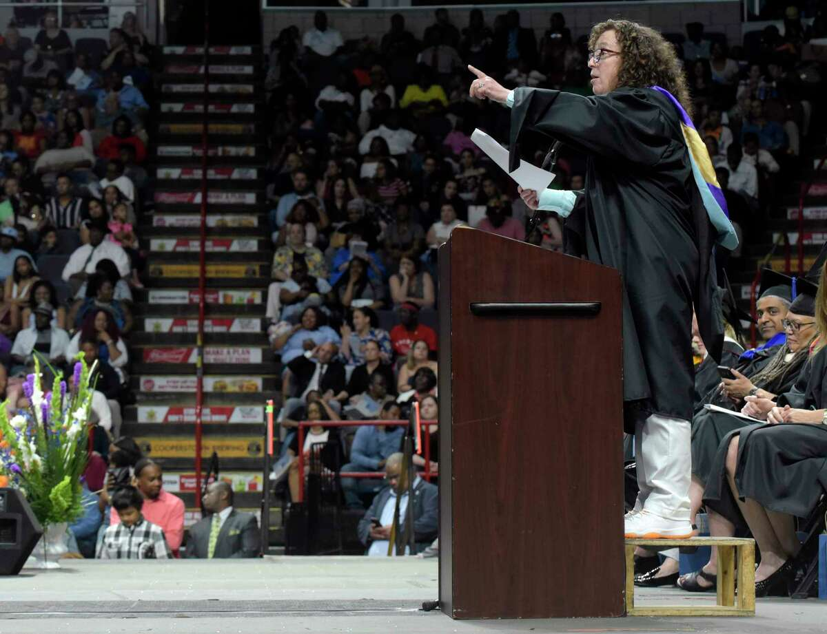 Dale Getto, former acting principal at Albany High School, addresses those gathered at the school's graduation ceremony at the Times Union Center on Sunday, June 24, 2018, in Albany, N.Y. (Paul Buckowski/Times Union)