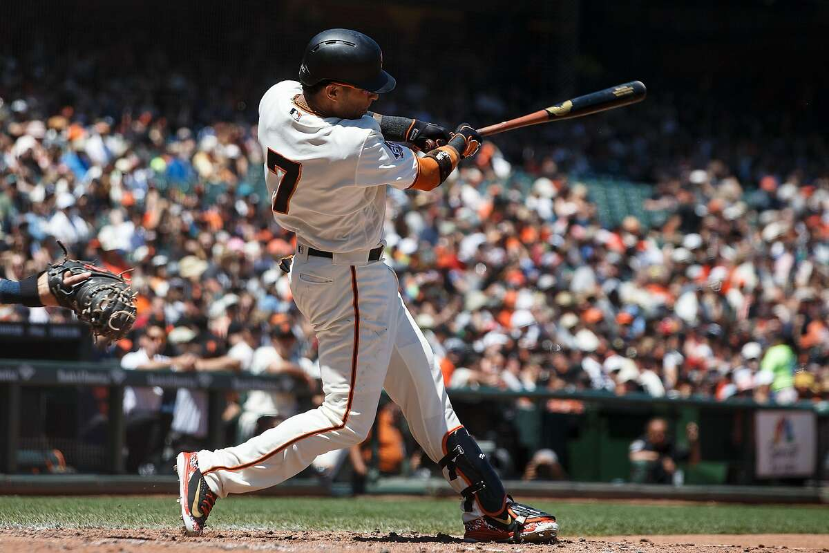 SAN FRANCISCO, CA - JUNE 24: Gorkys Hernandez #7 of the San Francisco Giants hits a home run against the San Diego Padres during the sixth inning at AT&T Park on June 24, 2018 in San Francisco, California. The San Francisco Giants defeated the San Diego Padres 3-2 in 11 innings. (Photo by Jason O. Watson/Getty Images)