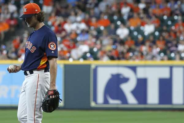 Houston Astros starting pitcher Gerrit Cole (45) reacts a strikeout during the first inning of an MLB game at Minute Maid Park, June 24, 2018, in Houston.   ( Karen Warren  / Houston Chronicle )