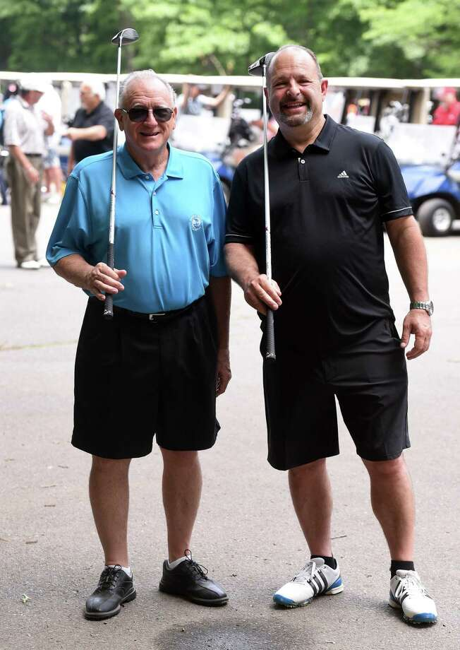 John D'Auria (left) and Michael DeVietro, organizers of the Mia Josephs Golf Tournament, are photographed at Laurel View Country Club before the start of the tournament in Hamden on June 24, 2018. Photo: Arnold Gold / Hearst Connecticut Media / New Haven Register