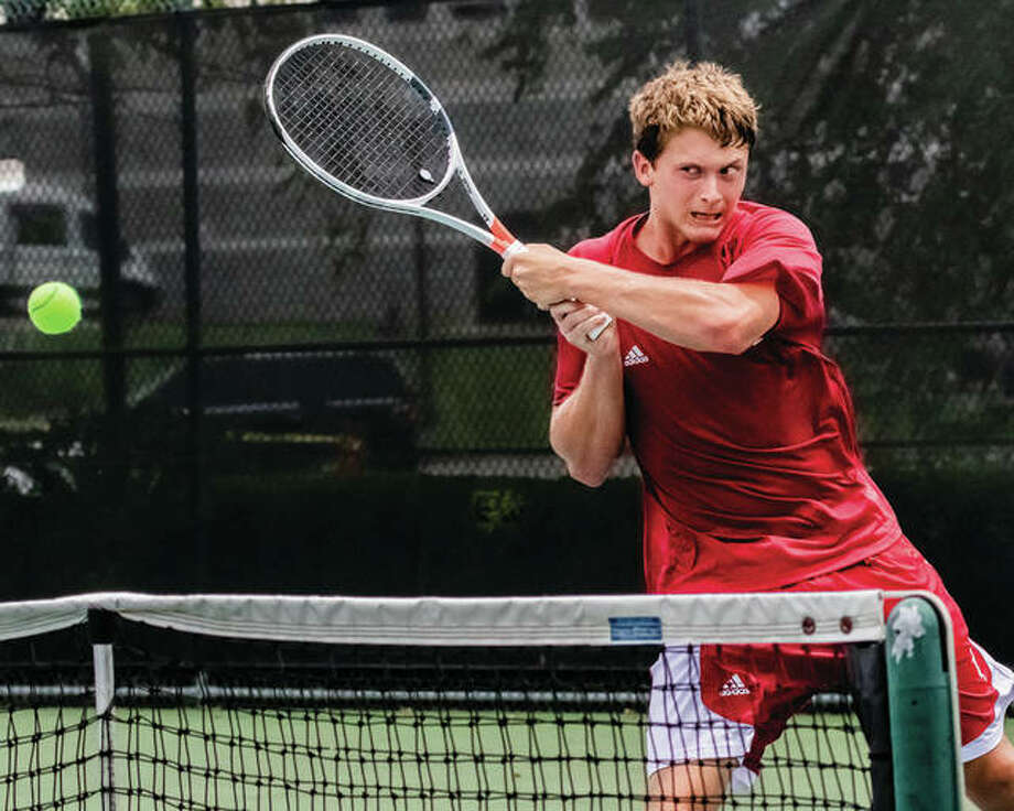 Carson Haskins makes a return to Kristopher Ortega in the Bud Simpson Open tennis tournament Men's Open Singles championship match Sunday at Lewis and Clark Community College. Haskins won 6-4, 6-4. Photo:     Nathan Woodside | The Telegraph