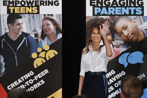 First lady Melania Trump waves as she walks off stage after speaking at the annual conference of SADD: Students Against Destructive Decisions, in Tysons, Va., Sunday, June 24, 2018. (AP Photo/Pablo Martinez Monsivais)