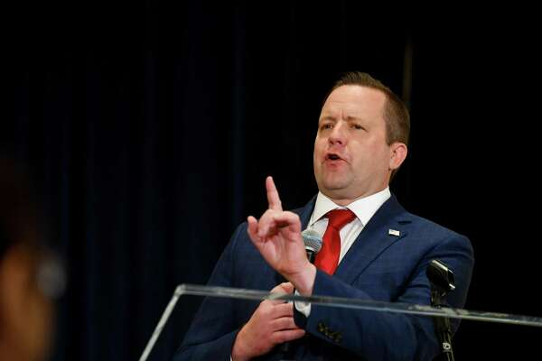 Republican Senate candidate Corey Stewart of Virginia delivers a brief speech at the Trump International Hotel in Washington, D.C.