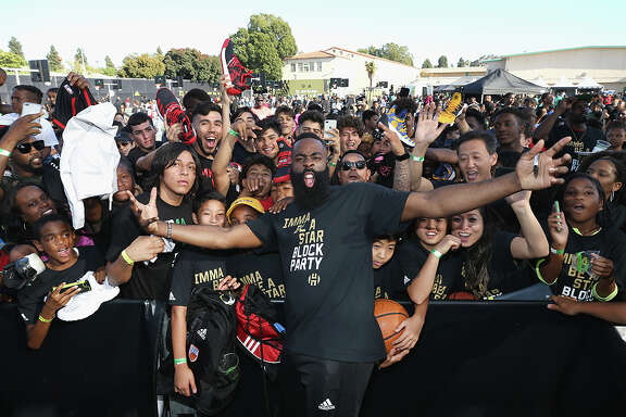 "LOS ANGELES, CA - JUNE 24:  James Harden attends ""Imma Be a Star"" Block Party at Audubon Middle School on June 24, 2018 in Los Angeles, California.  (Photo by Phillip Faraone/Getty Images for adidas) *** Local Caption *** James Harden"