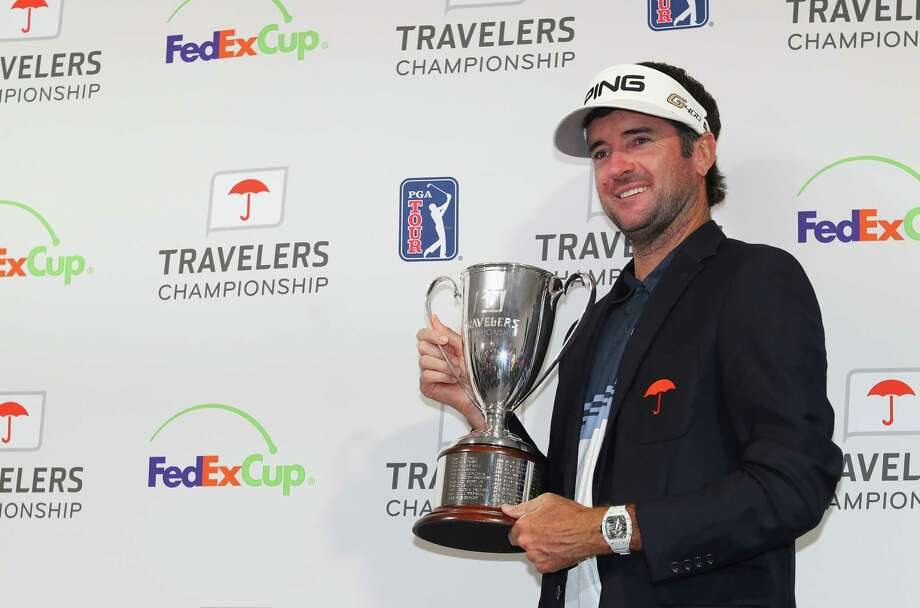 CROMWELL, CT - JUNE 24:  Bubba Watson of the United States poses with the trophy after winning the Travelers Championship at TPC River Highlands on June 24, 2018 in Cromwell, Connecticut.  (Photo by Tim Bradbury/Getty Images) Photo: Tim Bradbury / 2018 Getty Images