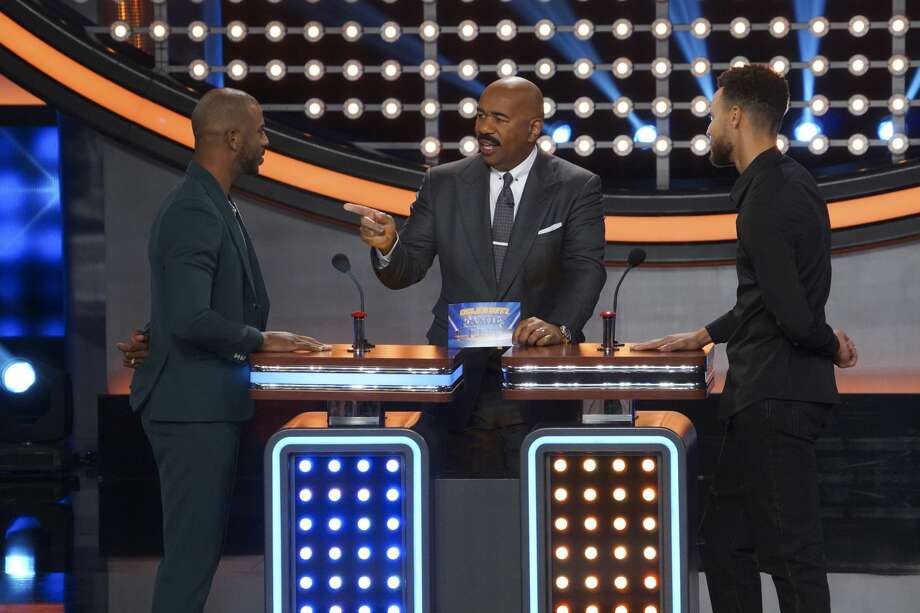 "Golden State Warrior Steph Curry and Houston Rocket Chris Paul were competitors off the court in a celebrity edition of game show ""Family Feud"" which aired Sunday. Photo: Byron Cohen/ABC"