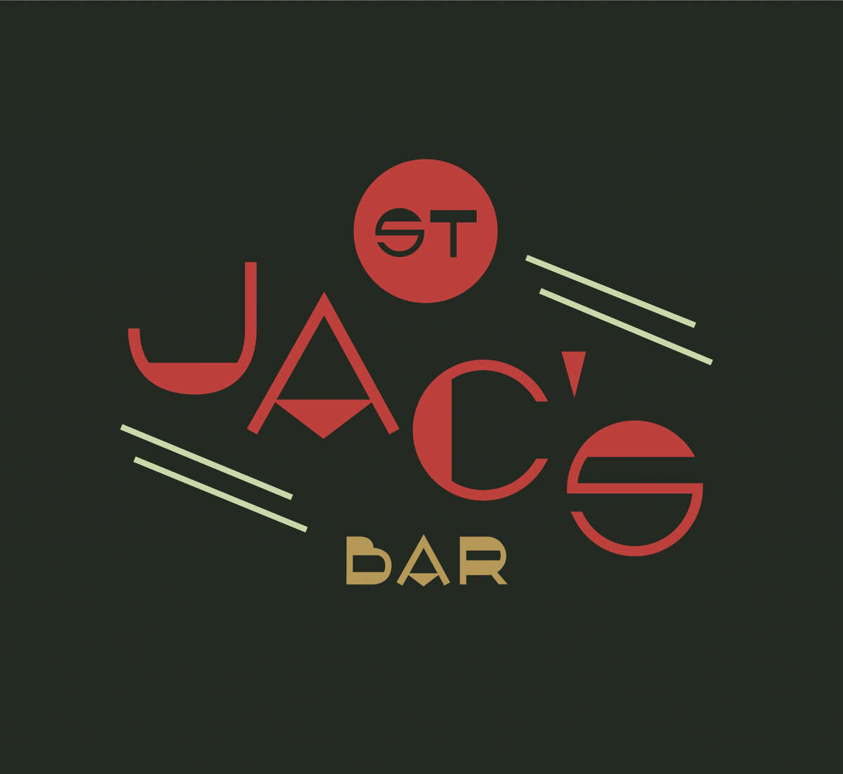 Logo for St. Jac's, a craft cocktail bar in Finn Hall, a new food hall set to open in downtown Houston in 2018.